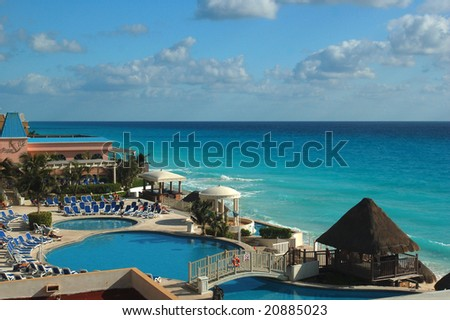 Luxury resort of cancun, Mexico - stock photo