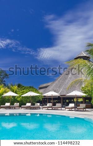 Luxury Resort swimming pool - stock photo