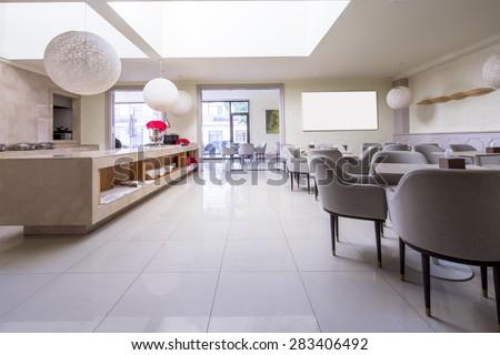 luxury restaurant interior and furniture - stock photo