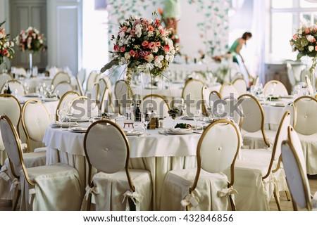 Luxury restaurant is prepared for the wedding - stock photo