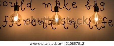 Luxury retro light bulb decor - stock photo