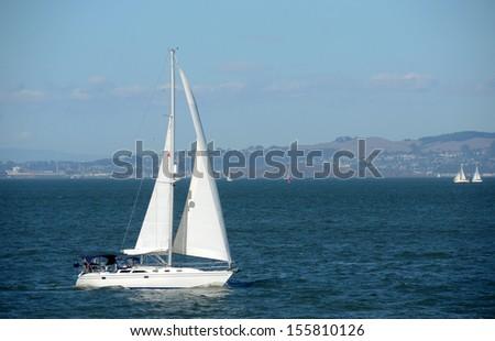 Luxury sailboat in the San Francisco Bay, California - stock photo