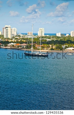 Luxury sailboat on the inter-coastal waterway in Ft. Lauderdale, Florida - stock photo