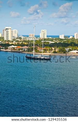 Luxury sailboat on the inter-coastal waterway in Ft. Lauderdale, Florida - stock photo
