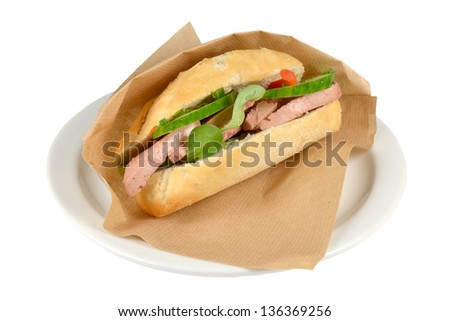 Luxury  sandwich roompate  on a white background.