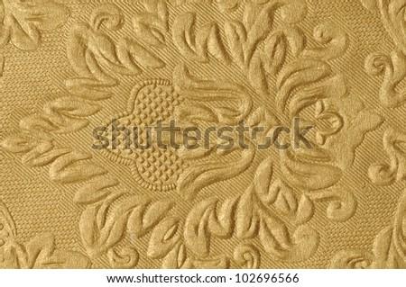 Luxury seamless golden floral wallpaper - stock photo