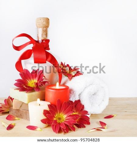 Luxury Set for Bath with Red Flowers and Candles