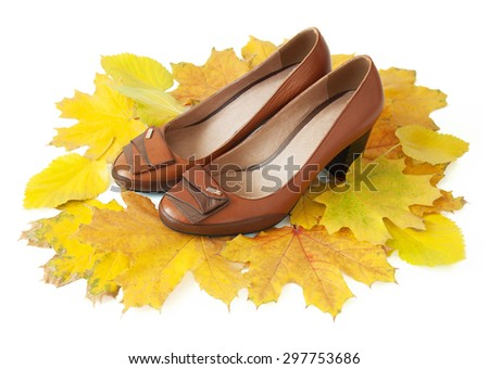 Luxury shoes with autumn leaves isolated on white background. Autumn sales concept - stock photo
