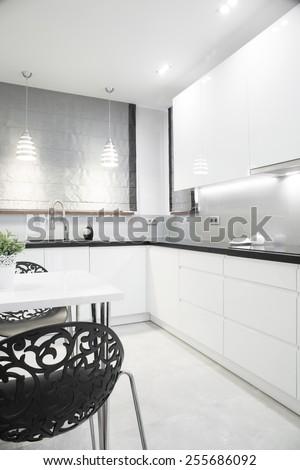 Luxury silver kitchen interior in modern design - stock photo