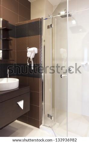 luxury small bathroom interior design. - stock photo