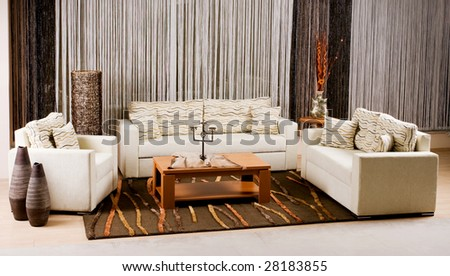 luxury sofa in a modern living room - stock photo