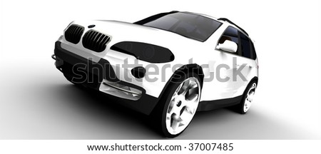Luxury sport utility vehicle / suv car isolated on white - stock photo