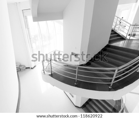 luxury stairs of modern industrial building - stock photo