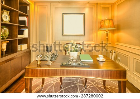 luxury study room in villa with modern style design and furniture - stock photo