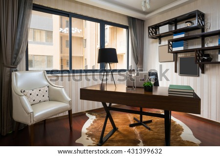 luxury study room with nice decoration