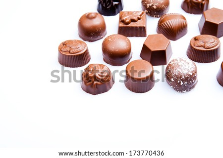 Luxury sweet chocolate pralines - stock photo