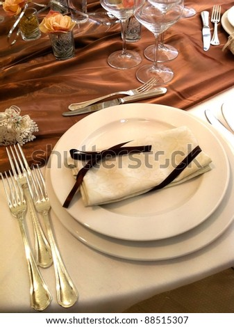 Luxury table set for event celebration - stock photo
