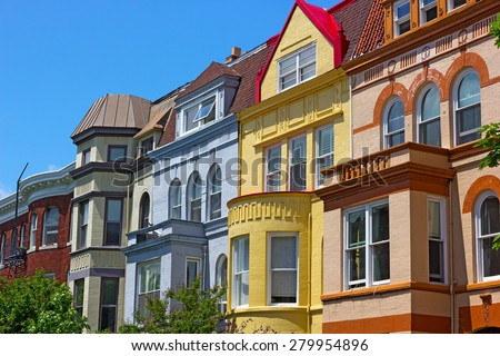 Luxury townhouses of Washington DC, USA. Colorful townhouses near Dupont Circle in Washington DC. - stock photo