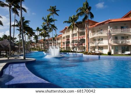 Luxury tropical hotel resort - stock photo