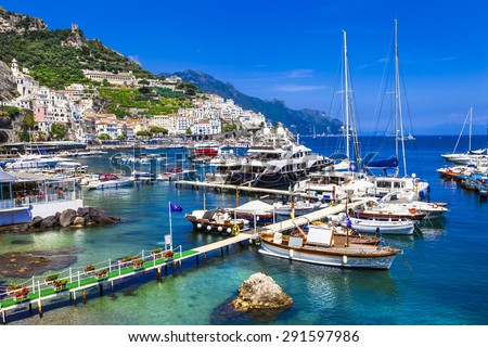 luxury vacation in Italy, Amalfi coast - stock photo