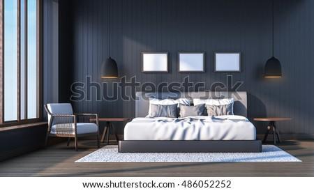 luxury villa master bedroom 3d rendering interior