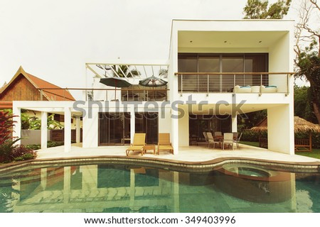 luxury Villa with swimming pool - stock photo