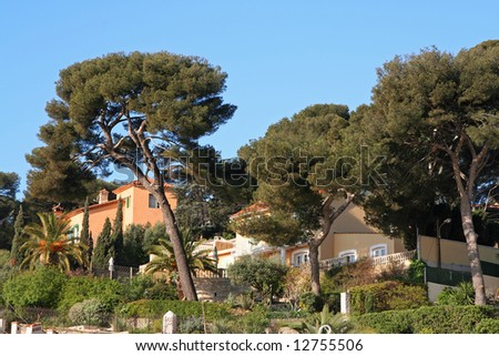 luxury villas in the south of france (sanary) - stock photo