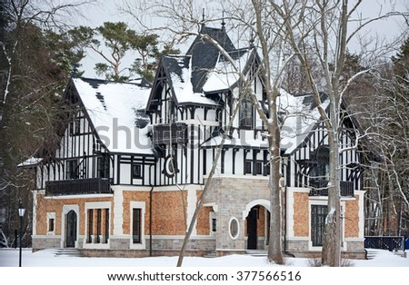 Luxury vintage cottage at the Zelenogorsk city, Russia - stock photo