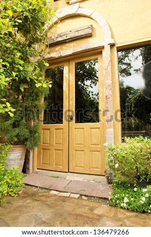Luxury vintage door with green tree - stock photo