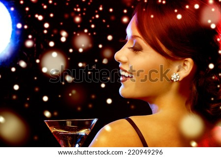 luxury, vip, nightlife, party, christmas, x-mas, new year's eve concept - beautiful woman in evening dress with cocktail - stock photo