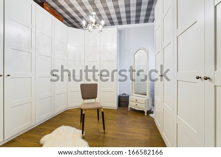 Luxury Wardrobe Room - Interior Design - stock photo