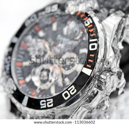 luxury watch, chronograph in water
