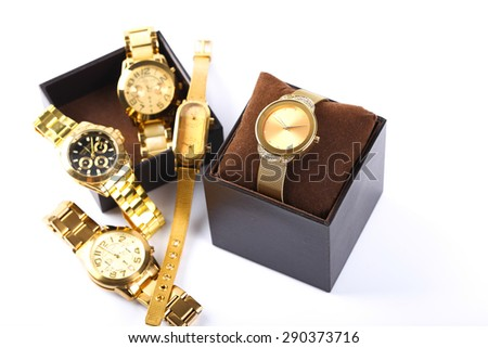Luxury watch in box isolated on white background.