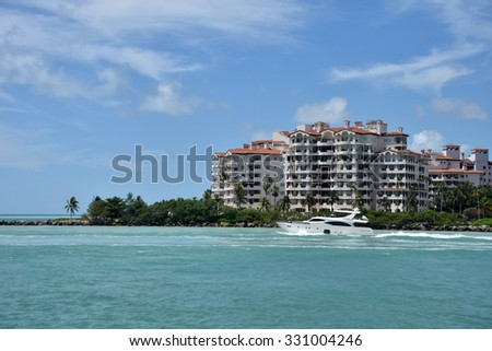 Luxury waterfront apartment building in Florida - stock photo