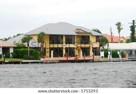 Luxury waterfront home - stock photo