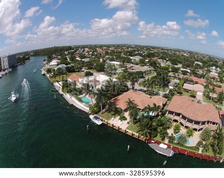 Luxury waterfront homes in Florida aerial view - stock photo