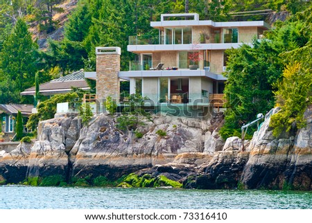 Luxury waterfront house in Vancouver, Canada. - stock photo