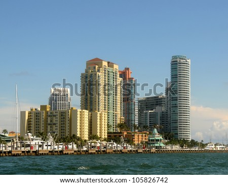 Luxury waterfront living in highrise apartments, Miami, Florida