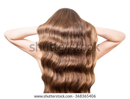 Luxury, wavy hair brown hands raised isolated on white background - stock photo