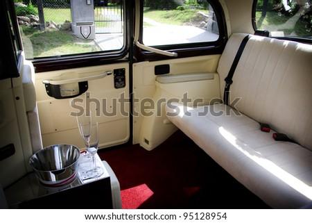 Luxury wedding car interior - stock photo