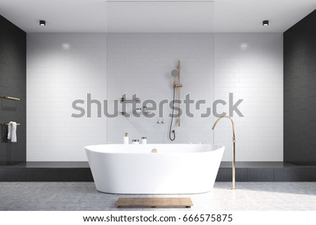 Luxury White Bathroom Interior With White And Black Tiles, A White Tub And  A Shower