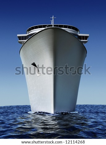 luxury white cruise ship shot from front at water level on a clear day with choppy seas and blue sky - stock photo