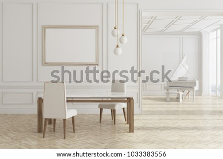 Luxury white living room interior with two white armchairs, a piano and a table. A framed horizontal poster. 3d rendering mock up
