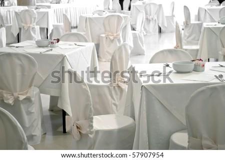 Luxury white restaurant empty room furniture interior - stock photo