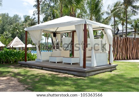 Luxury white tent in the garden - stock photo