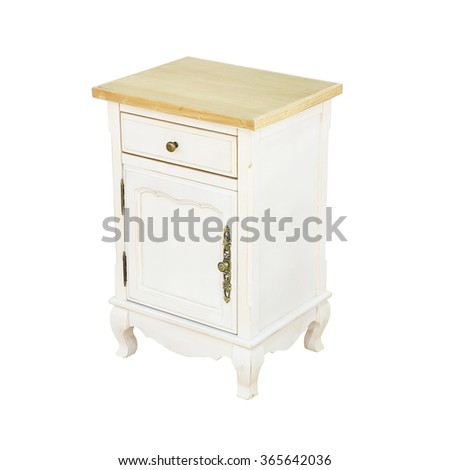 Luxury white vintage style Bedside table  - stock photo