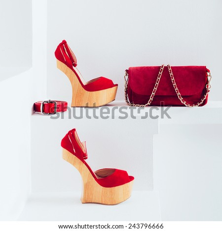 Luxury women's accessories. Bag and strap. Stylish shoes. Red accent in clothes. - stock photo