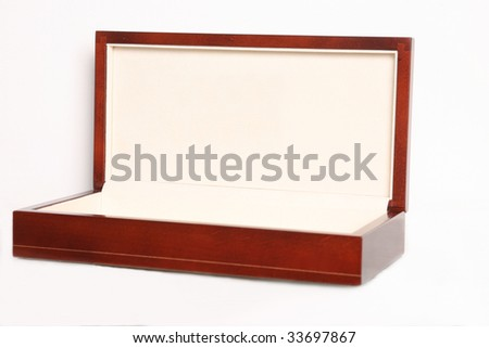 Luxury Wooden Gift Box isolated on white - stock photo