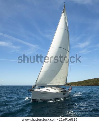 Luxury yacht at ocean race. Sailing regatta. Romantic trip. - stock photo