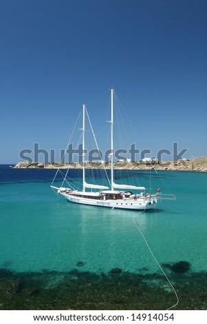 Luxury Yacht in Bay - stock photo